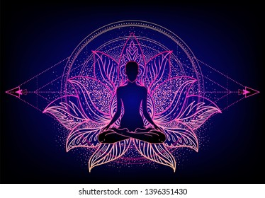 Chakra concept. Inner love, light and peace. Buddha silhouette in lotus position over colorful ornate mandala. Vector illustration isolated. Buddhism esoteric motifs. Tattoo, spiritual yoga.