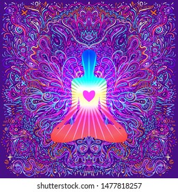 Chakra concept. Inner love, light and peace. Silhouette in lotus position over ornate mandala. Vector illustration. Hypnotic shamanic acid pattern. Hand drawn design in ethnic Indian style.