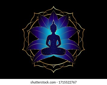 Chakra concept. Inner love, light and peace. Buddha silhouette in lotus position over gold ornate mandala lotus flower. Vector illustration isolated. Buddhism esoteric motifs. Tattoo, spiritual yoga