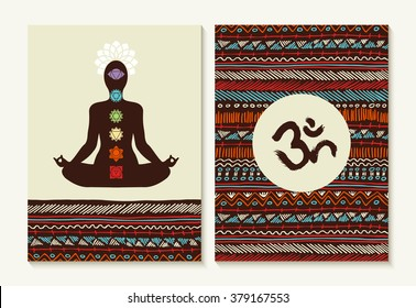 Chakra concept set with body silhouette doing lotus yoga pose and boho background designs. EPS10 vector.