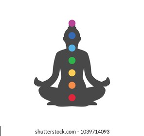 Chakra icon.  Chakra dot on human illustration.  Yoga icon.  Meditation icon.