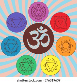 Chakra pictograms and symbol OM in the center. Set of chakras used in Hinduism, Buddhism and Ayurveda. Elements for your design. Vector illustrations