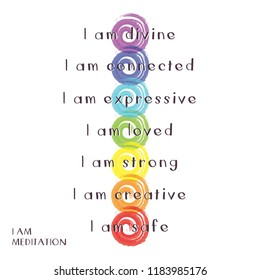 Chakra Symbols with words for I am meditation