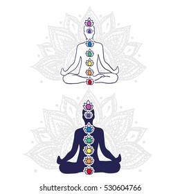 Chakra system, asana padmasana - vector editable illustration.
