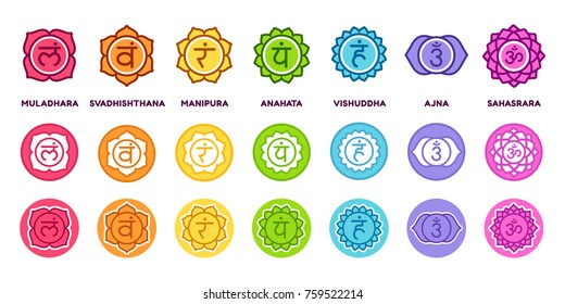 Chakra system icon set in different styles. The seven chakras on colored circles with sanskrit symbols, simple and modern flat vector pictograms.