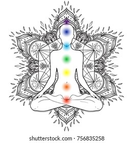 Chakras concept. Silhouette in lotus position over decorative mandala round pattern with sacred geometry element Metatron Cube, powerful symbol, Flower of Life. Alchemy, philosophy, spirituality.