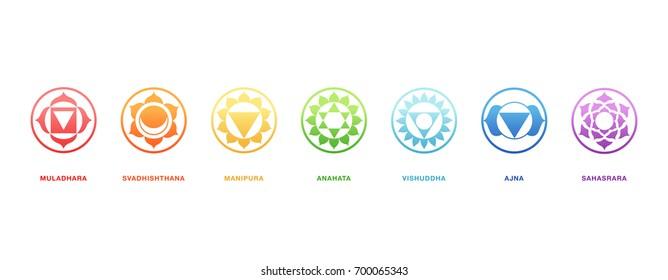 Chakras energy healing, sacred geometry vector