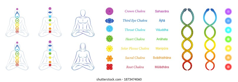 Chakras, kundalini, meditation design symbol set for webpages. Icon, tools, collection for websites. Meditating couple with seven main chakras and coiled snake. Vector on white.