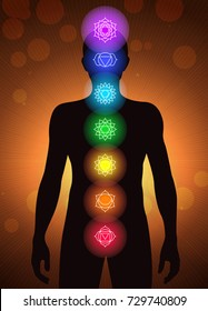 chakras location in human body vector