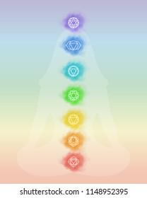 Chakras: muladhara, swadhisthana, manipura, anahata, vishuddha, ajna, sahasrara. Vector line symbol. Om sign. Silhouette of a girl in a lotus pose