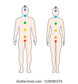 Chakras on the human body. Silhouette of a man and a woman with seven colored sacred points. Vector illustration.