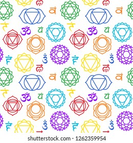 Chakras seamless pattern. Muladhara, swadhisthana, manipura, anahata, vishuddha, ajna, sahasrara. Vector colorful esoteric background. Hinduism, buddhism. Line symbol. Om sign