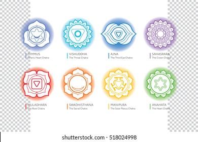 Chakras set  - ayurveda, spirituality, yoga symbols. Muladhara, Swadhisthana, Manipura, Anahata, Vishuddha, Ajna, Sahasrara. Editable vector illustration, transparent circle around.