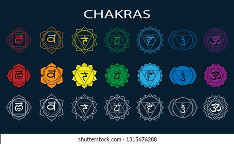 Chakras set: muladhara, swadhisthana, manipura, anahata, vishuddha, ajna, sahasrara. Vector line symbol. Om sign on a black background. EPS 10 Vector illustration