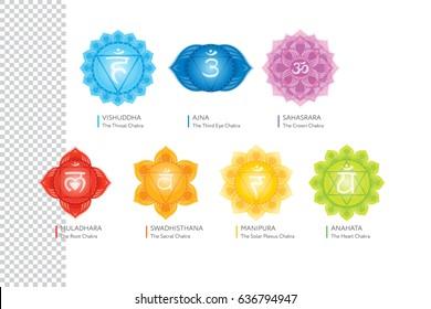 Chakras system of human body - used in Hinduism, Buddhism and Ayurveda. For design, associated with yoga - poster, banner. Vector Sahasrara, Ajna, Vishuddha, Anahata, Manipura, Swadhisthana, Muladhara
