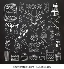 Chalboard Christmas Doodle Collection. Vector Illustration. Chalk Drawing
