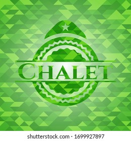 Chalet green emblem with mosaic background. Vector Illustration. Detailed.