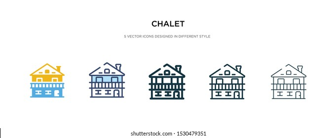 chalet icon in different style vector illustration. two colored and black chalet vector icons designed in filled, outline, line and stroke style can be used for web, mobile, ui