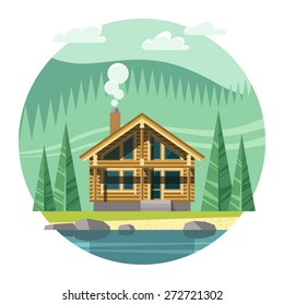 Chalet, wooden house, Eco house, house on the nature - vector flat illustration.