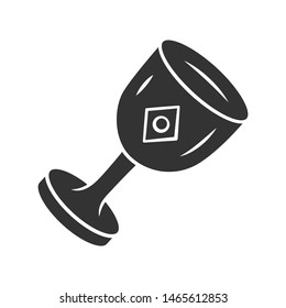 Chalice cup glyph icon. Silhouette symbol.Medieval, ancient goblet. Holy Grail. Magical, occult ritual gothic chalice. Ceremonial wine antique goblet.  Negative space. Vector isolated illustration