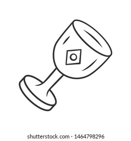 Chalice cup linear icon. Thin line illustration. Medieval, ancient goblet. Holy Grail. Magical, occult ritual gothic chalice. Ceremonial wine antique goblet. Isolated outline drawing. Editable stroke