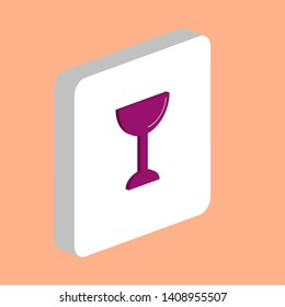 Chalice, Cup Simple vector icon. Illustration symbol design template for web mobile UI element. Perfect color isometric pictogram on 3d white square. Chalice, Cup icons for you business project