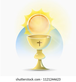 Chalice holy christian religion: Recipient, cup-shaped, that the Catholic priest uses to consecrate the wine at the mass.