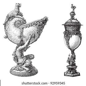 Chalice / vintage illustration from Meyers Konversations-Lexikon 1897