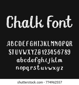 Chalk alphabet font. Hand drawn type letters and numbers on a dark background. Stock vector typeface for your headers or any typography design.