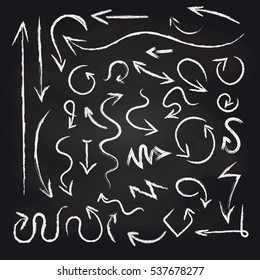 Chalk arrows set on blackboard background vector illustration