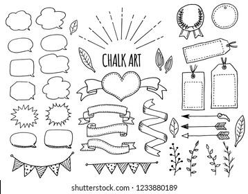 Chalk art frame and ribbon doodle
