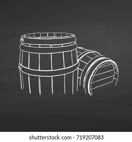 Chalk barrel drawing on chalkboard. Hand drawn healthy food sketch. Black and White Vector Drawing on Blackboard.