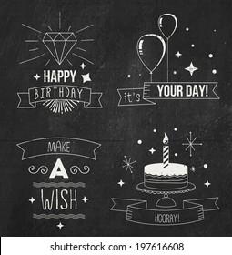 Chalk birthday cards set