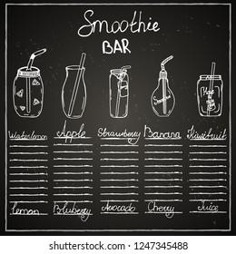 Chalk board, bar menu, cafe, smoothies, drink, juice, recipe, ingredient, jar, mug, tube, fruit.