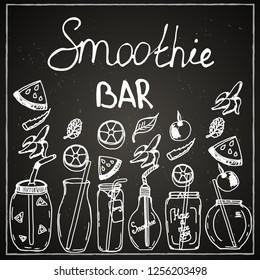 Chalk board, bar menu, cafe, smoothie, drinks, juices, recipe, ingredients, watermelon, orange, apple, mint, scarlet, ice, dishes, jar, mug, tubule, fruit.