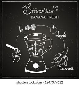 Chalk board, blender, green smoothie, fresh smoothie, menu for bar, cafe, smoothie, drink, juice, recipe, ingredient, banana, apple, ice, greens, mint, apple, celery, dishes, jar, mug, straw, fruit .