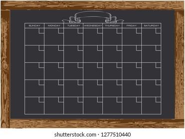 Chalk board with calendar. Wooden frame Vector illustration.