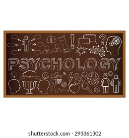 Chalk board doodle with symbols on psychology. Vector illustration. Set of education and learning doodles.
