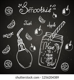 Chalk board, fresh smoothie, menu for bar, cafe, smoothie, drink, juice, recipe, ingredient, orange, apple, ice, dishes, jar, mug, straw, fruit.