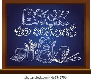 Chalk board vector illustration. Back to school big doodles set. Hand drawn with ink. Vector illustration.Freehand drawing school items. Back to School.