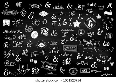Chalk Catchwords, ribbons, ampersands design elements set. at, to, for, the, of, with, by, and, from. Big vector set .
