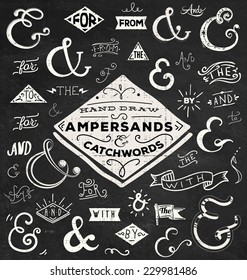 Chalk Catchwords, ribbons, ampersands design elements set. at, to, for, the, of, with, by, and, from. Vector graphic set on chalkboard background.