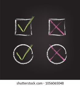 Chalk check marks on black schoolboard. Vector chalk hand drawn design elements.