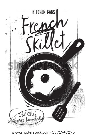 Chalk Coated Style French Skillet White Stock Vector (Royalty Free