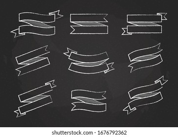 Chalk contour ribbon banner vector set illustration. Big collection of different shapes white chalk style ribbons and curved labels with empty spaces for message, isolated on blackboard