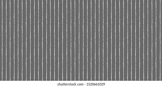 Chalk, crayon hand drawn pinstripes seamless vector background. Textured thin stripes, white streaks on chalkboard. Bars, vertical lines pattern. Elegant regular striped texture, banner template.