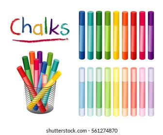 Chalk crayons in 18 rainbow colors, including pastels for home, office, back to school, art and craft projects, scrapbooks in desk organizer, isolated on white background. EPS8 compatible.