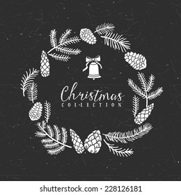 Chalk decorative greeting wreath with bell. Christmas collection. Hand drawn illustration. Design elements.