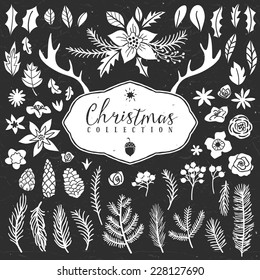 Chalk decorative plant items. Christmas collection. Hand drawn illustration. Design elements.