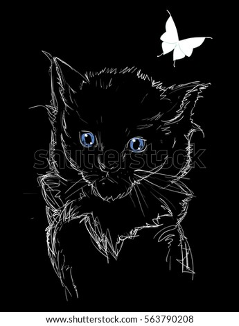 Chalk Drawing Beautiful Adorable Cat Sketched Stock Vector Royalty